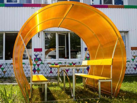 Жёлтый сотовый поликарбонат 4,0 мм, вариант применения 6