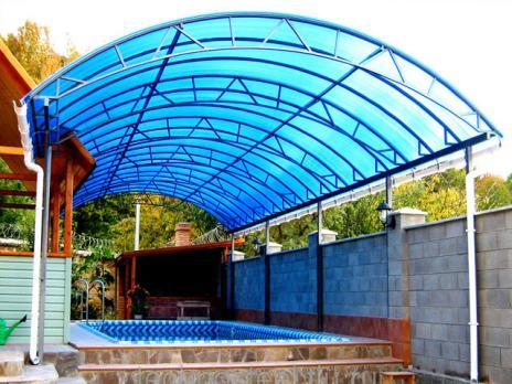Синий сотовый поликарбонат 10,0 мм, варианты применения 4