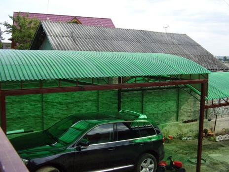 Зелёный профилированный поликарбонат 1,3 мм, вариант применения 3